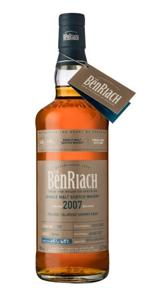 BenRiach Single Cask Batch 14, 10 Years Old (2007), Peated/Sherry Cask #105