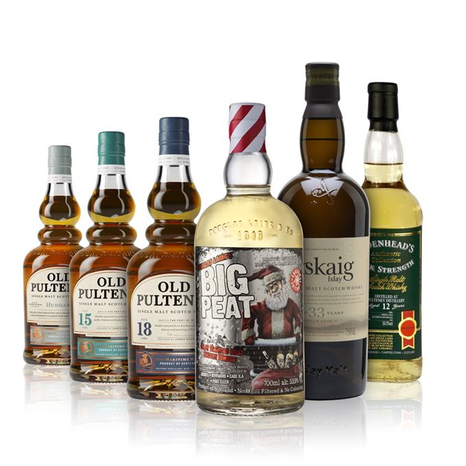 Big Peat Christmas 2018, Old Pulteneys Huddart, 15 and 18-year-olds, Port Askaig 33-year-old and Cadenhead's Old Pulteney 12