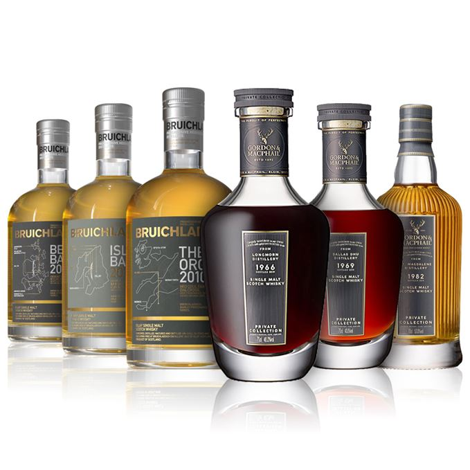 Bruichladdich Islay Barley, Bere Barley and 100% Organic, Gordon & MacPhail Longmorn, Dallas Dhu and St Magdalene Private Collection malts