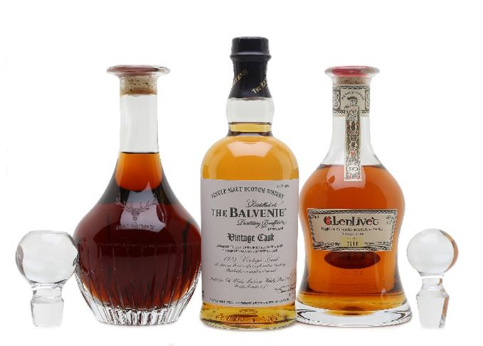 Decanters of 1973 Balvenie, 50-year-old Glenlivet