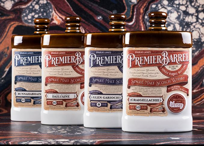 Premier Barrel decanters: a 10-year-old Craigellachie, 8-year-old Glen Garioch, 10-year-old Dailuane and a 10-year-old Bunnahabhain